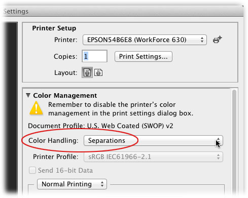 Step 3 Back In The Photoshop Print Settings Dialog Box Locate Color Management Section And Choose Separations From Handling Pop Up Menu