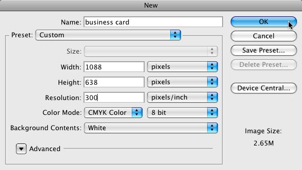 How to design business cards in photoshop photolesa business card size enter 300 for resolution and choose cmyk for color mode at 8 bit choose white from the background contents pop up menu and click wajeb Image collections