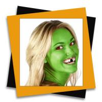 How to create black teeth, red eyes, and green skin